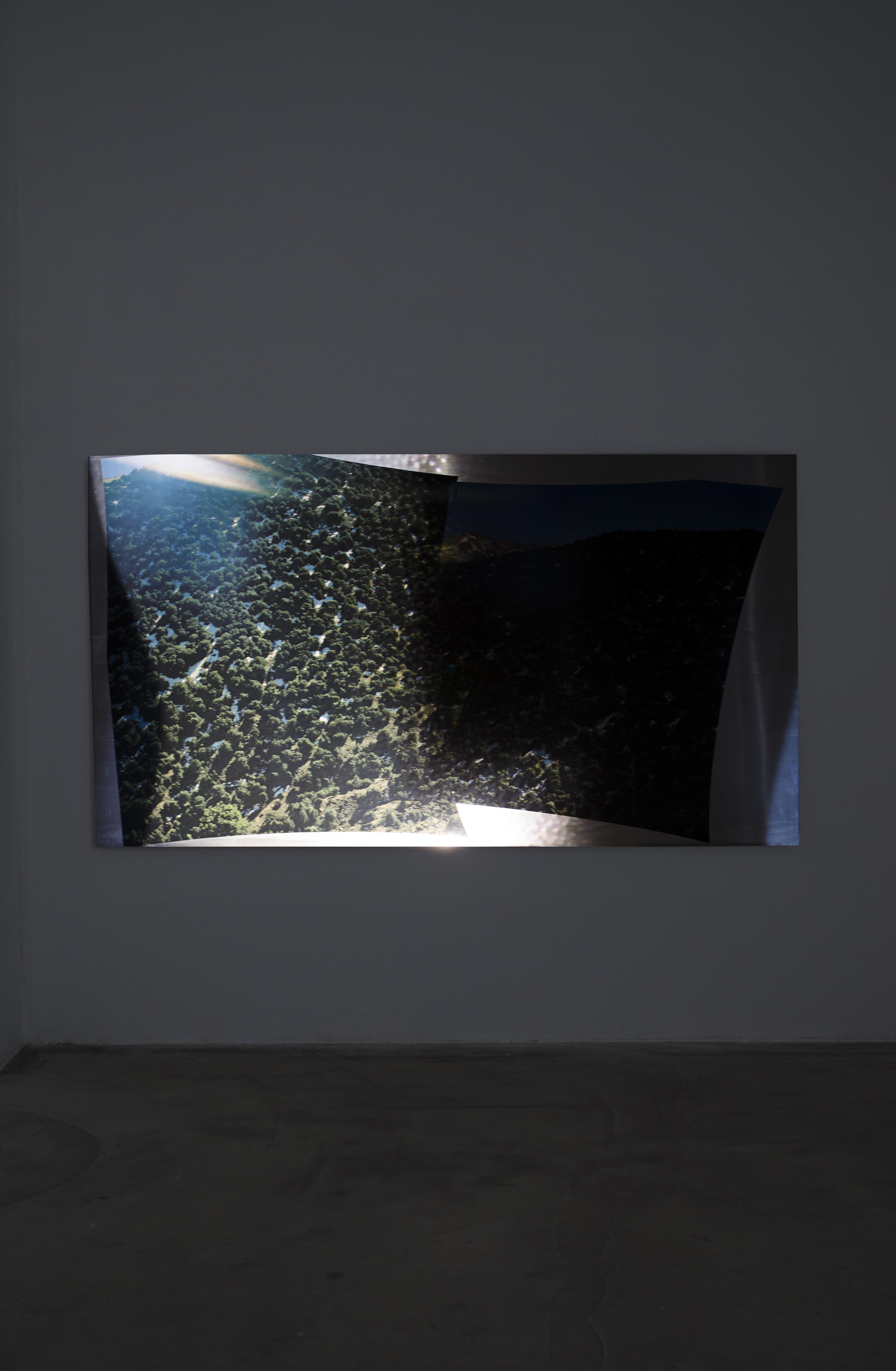 Josephine-Callaghan_High-pass, C-type print, sheet aluminium, projected video, 2300 x 1250